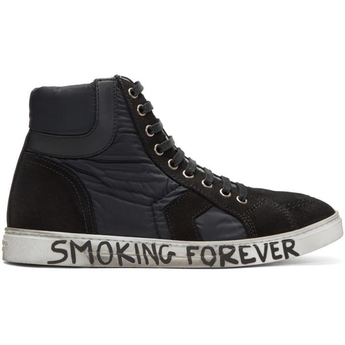 Photo: Saint Laurent Black Suede and Nylon Antib High-Top Sneakers