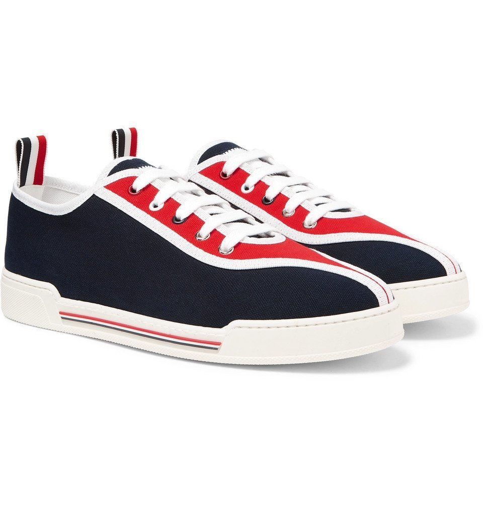 Photo: Thom Browne - Striped Canvas Sneakers - Navy