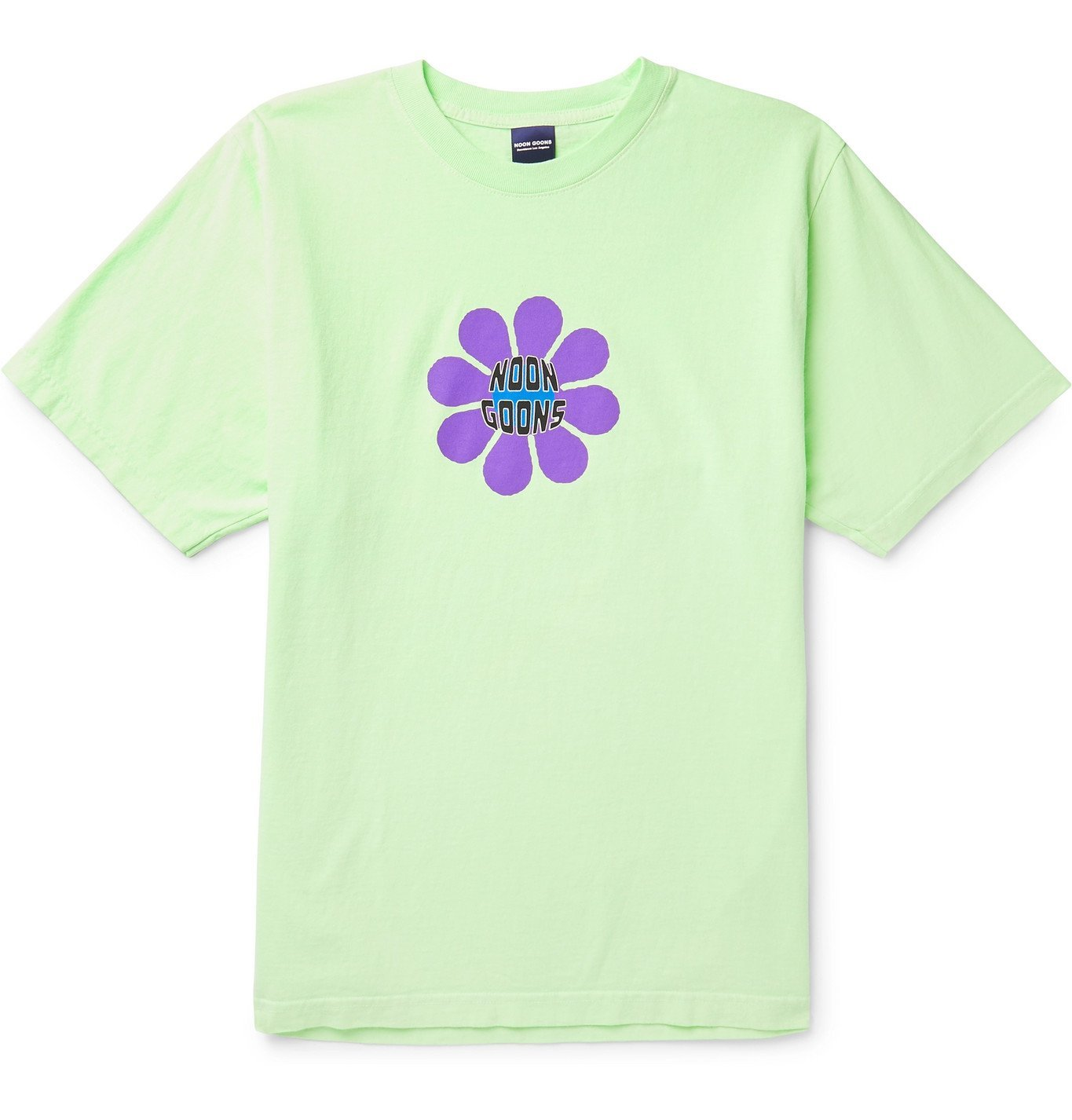 Photo: Noon Goons - Printed Garment-Dyed Cotton-Jersey T-Shirt - Green