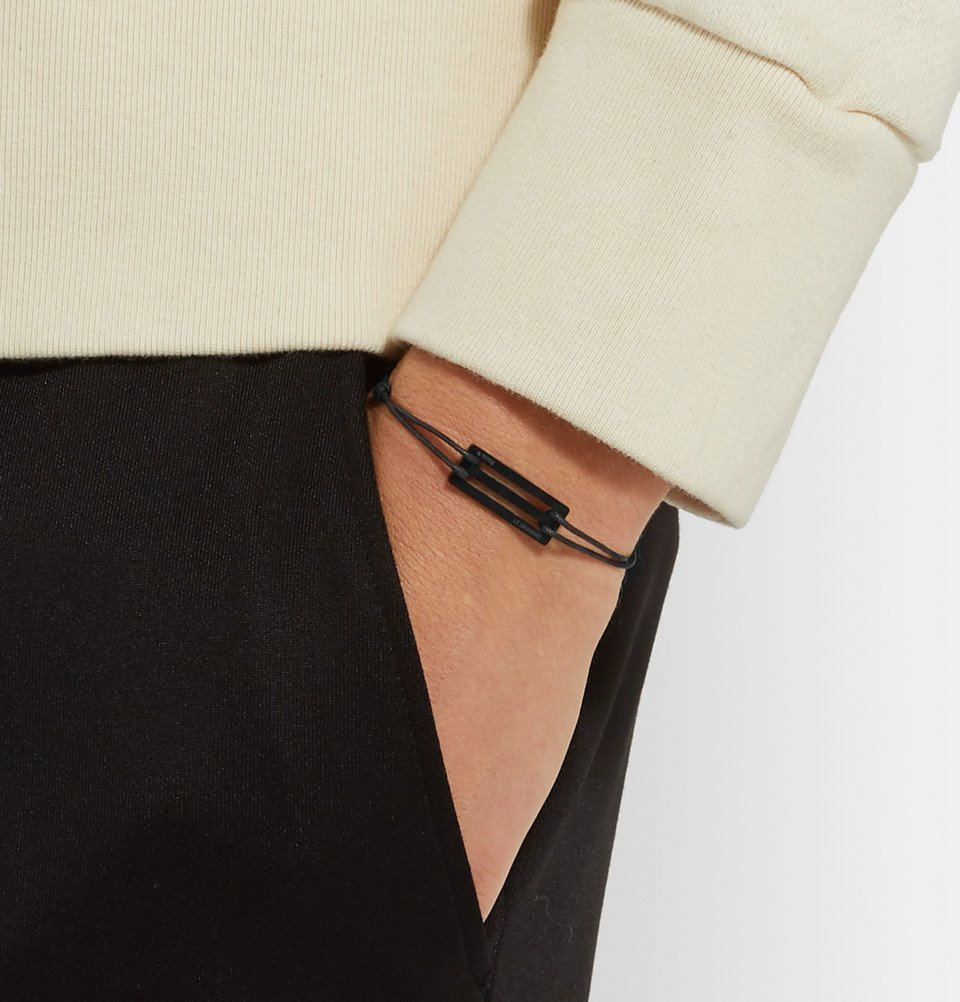 Le Gramme - Cord and Ceramic Bracelet - Black