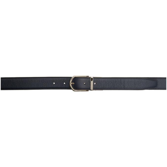 Dunhill Reversible Navy and Black Slim Belt