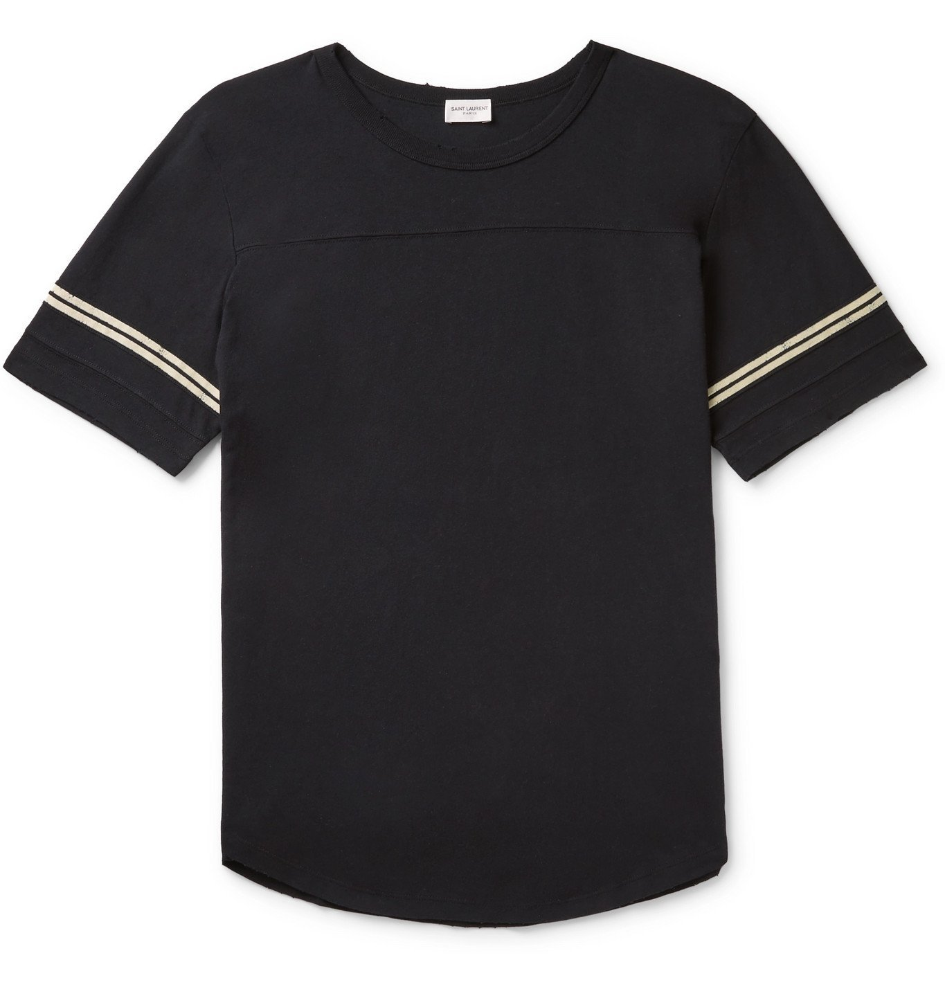 Photo: SAINT LAURENT - Logo-Flocked Stripe-Trimmed Distressed Cotton-Jersey T-Shirt - Black