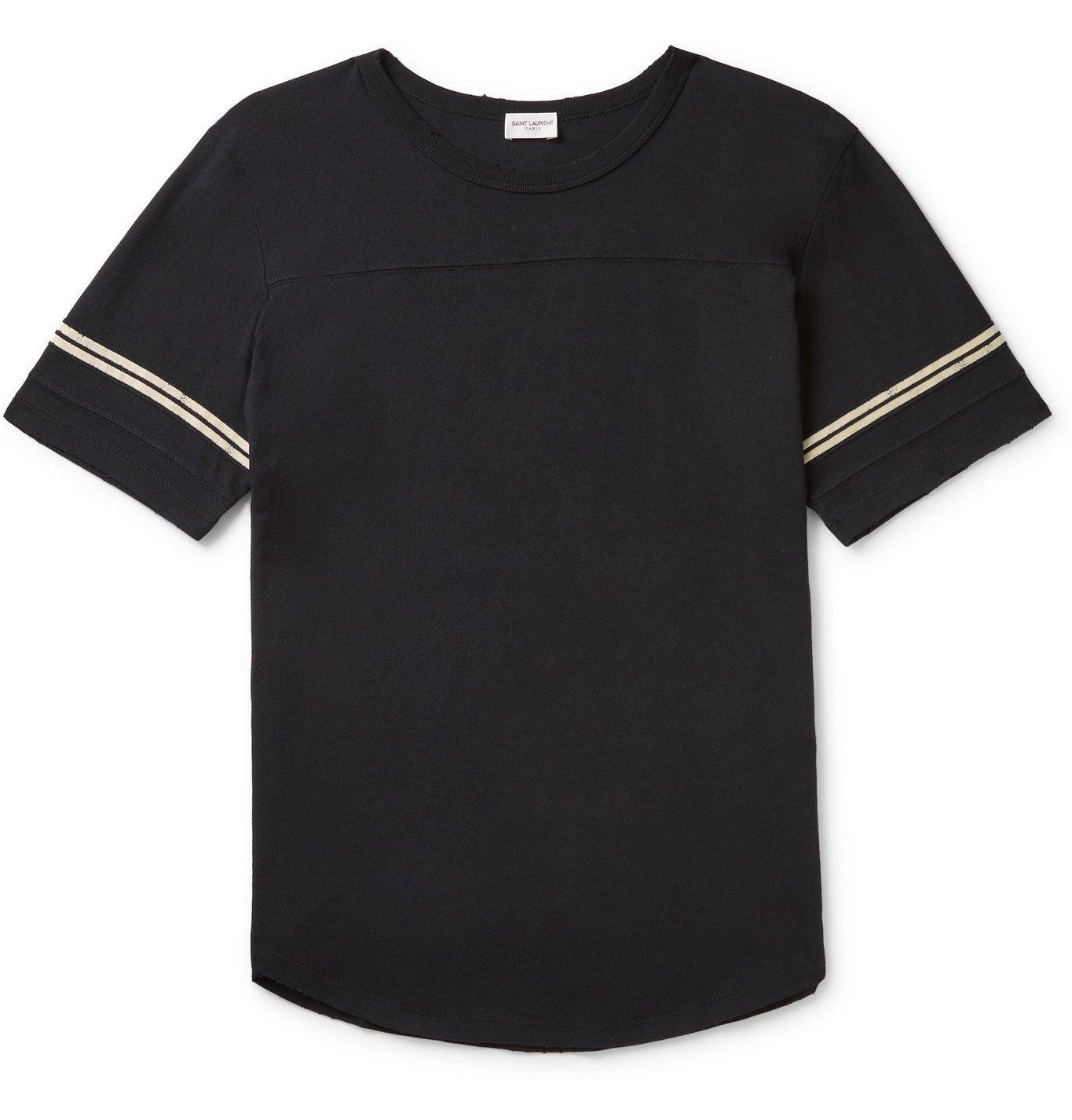 Photo: SAINT LAURENT - Logo-Flocked Stripe-Trimmed Distressed Cotton-Jersey T-Shirt - Black
