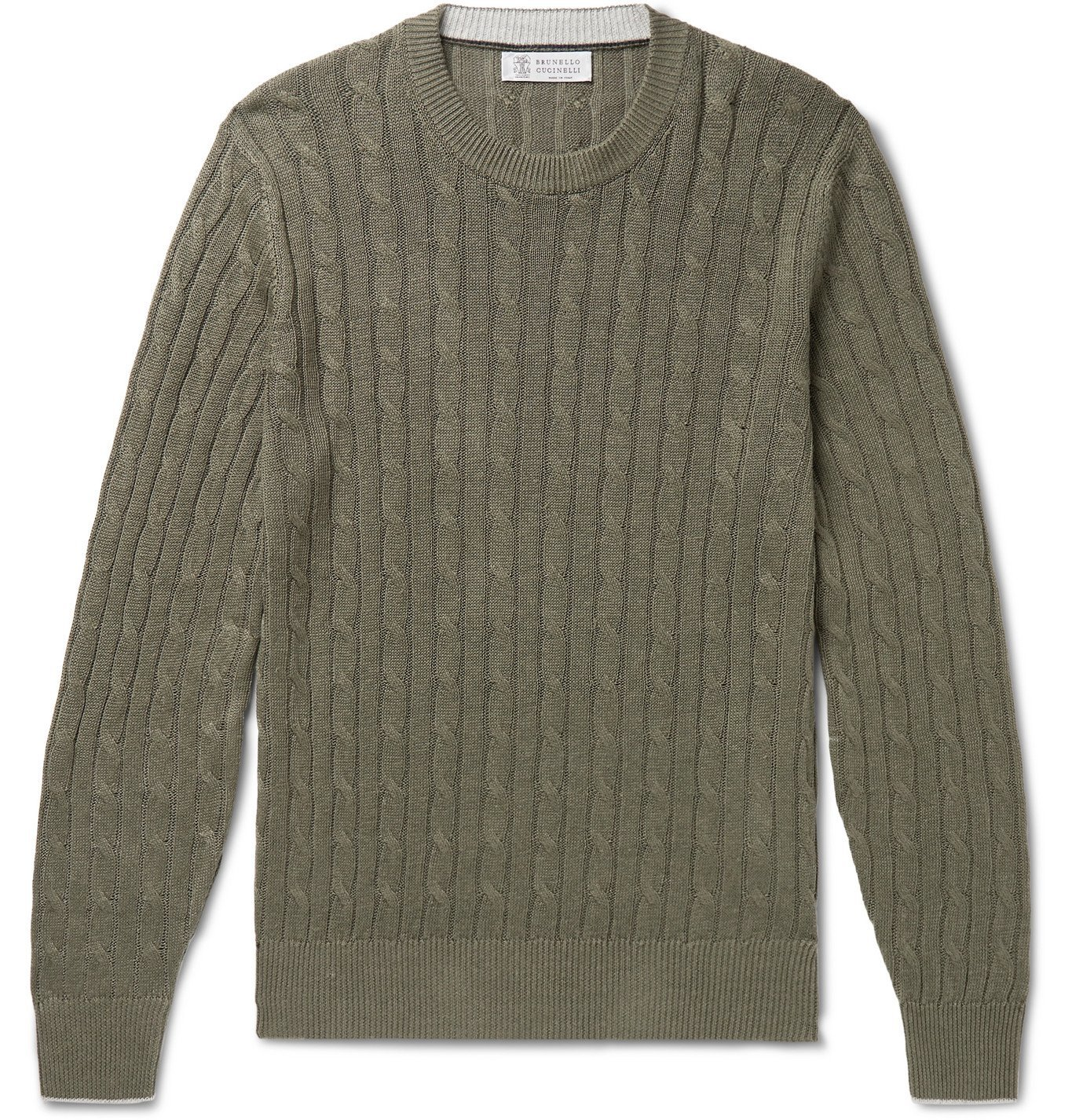 Photo: Brunello Cucinelli - Cable-Knit Linen and Cotton-Blend Sweater - Green