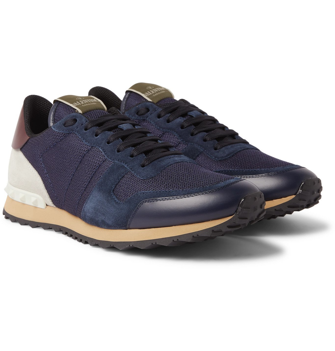 Photo: Valentino - Valentino Garavani Rockrunner Mesh, Leather and Suede Sneakers - Blue