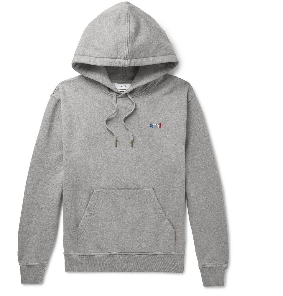 Photo: AMI - Logo-Embroidered Loopback Cotton-Jersey Hoodie - Gray