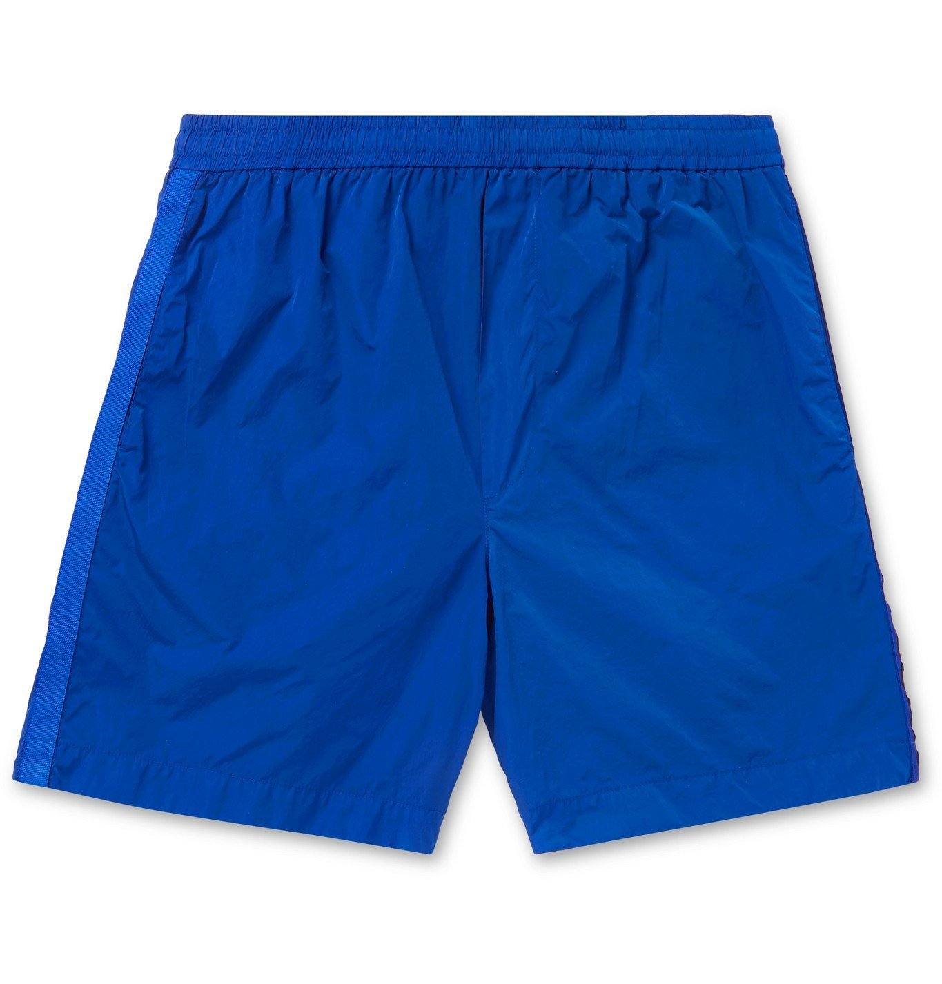 Photo: Moncler - Logo-Embroidered Grosgrain-Trimmed Shell Shorts - Blue