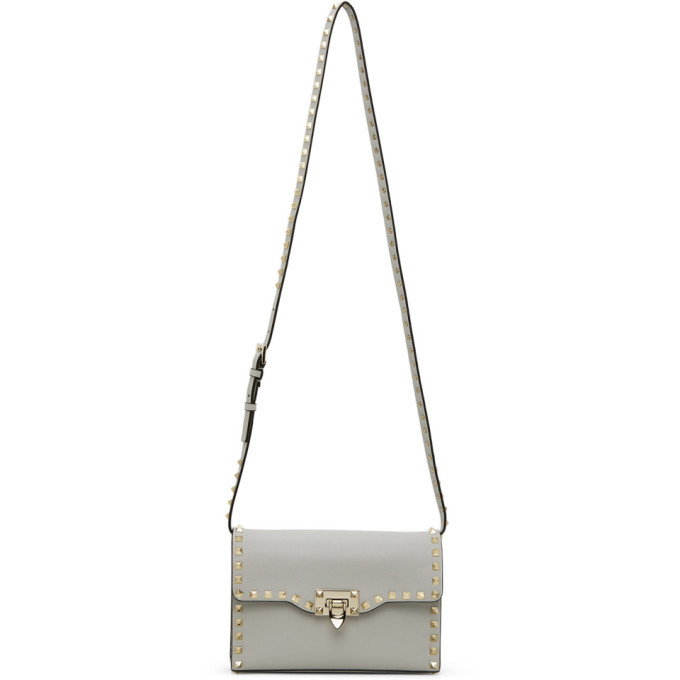 Photo: Valentino Grey Valentino Garavani Small Rockstud Shoulder Bag