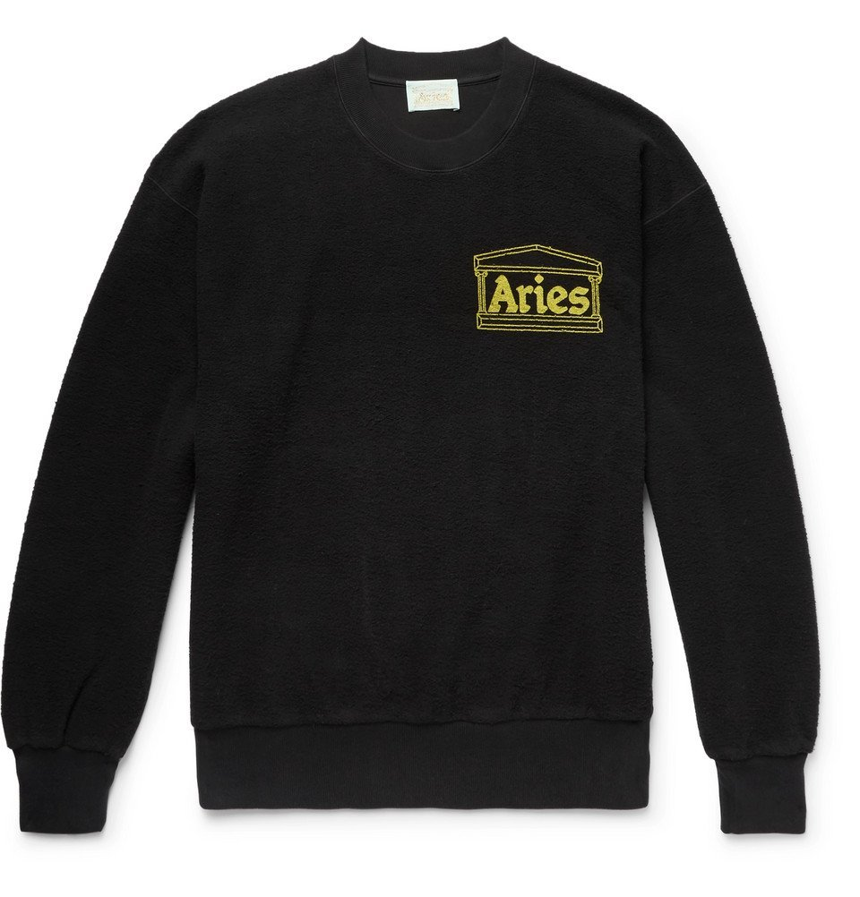 Aries - Logo-Print Cotton-Terry Sweatshirt - Men - Black