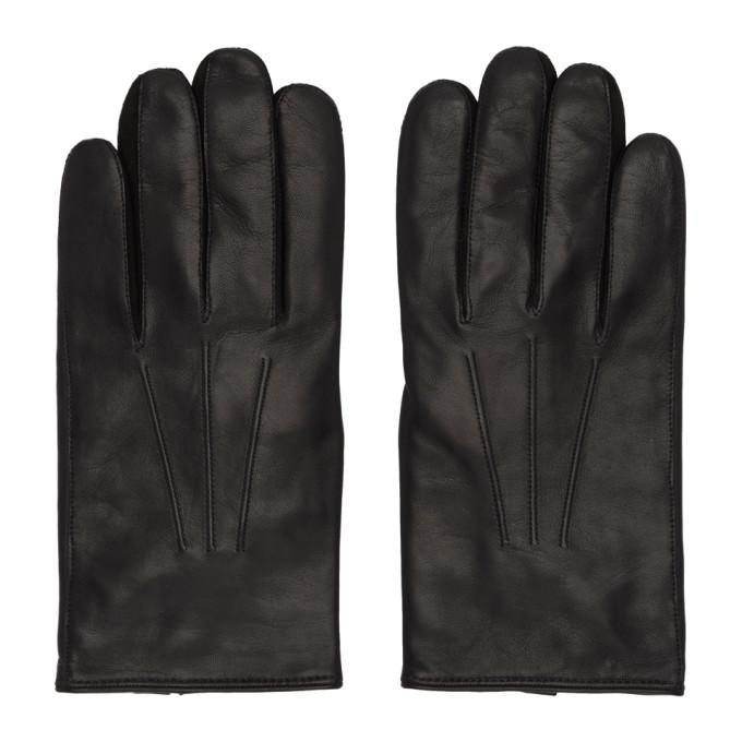Photo: Paul Smith Black Leather Plain Gloves
