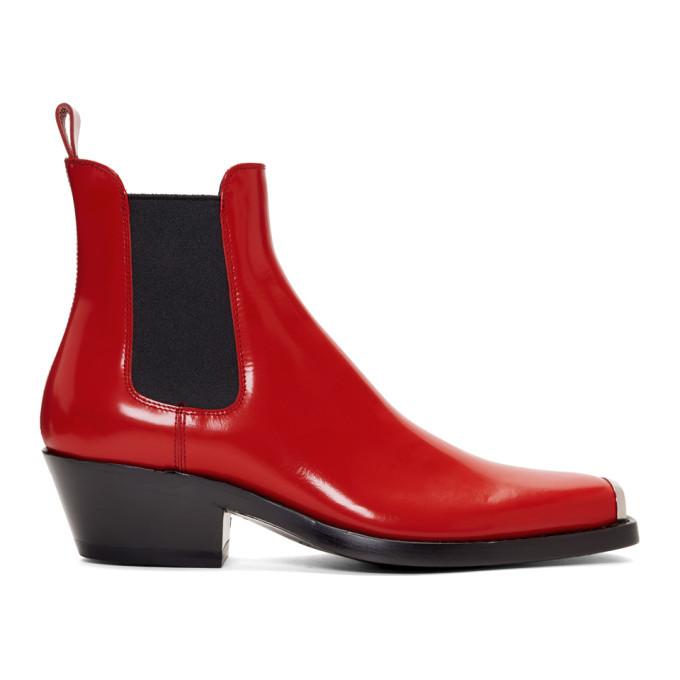 Photo: Calvin Klein 205W39NYC Red Western Chris Crosta Chelsea Boots
