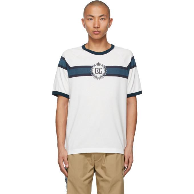 Photo: Dolce and Gabbana White and Navy DG Logo Print T-Shirt