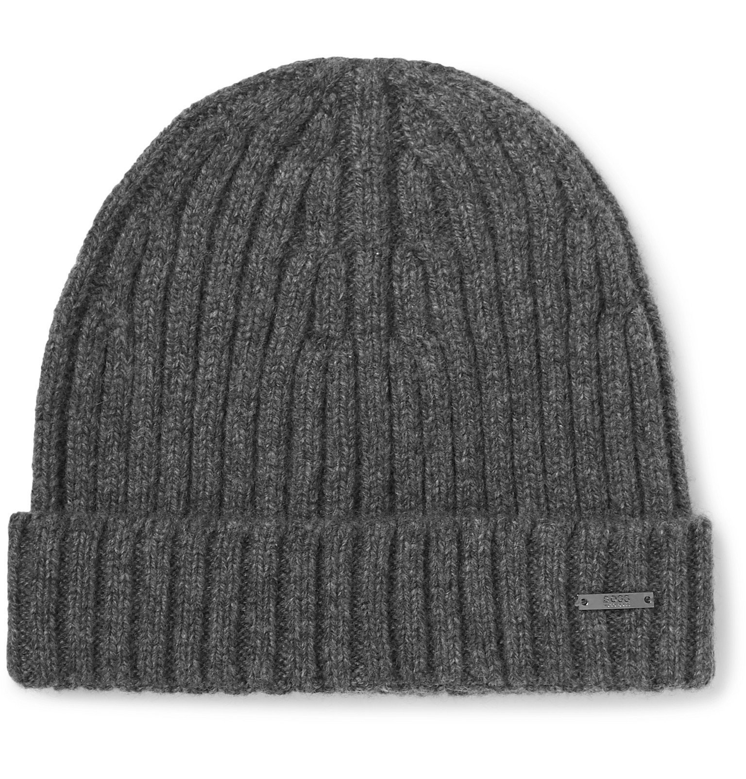 Photo: Hugo Boss - Ribbed Cashmere Beanie - Gray