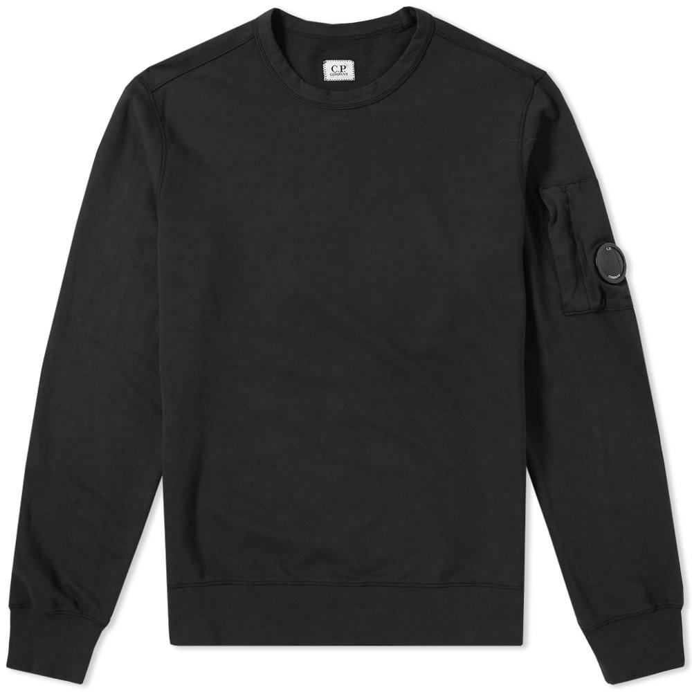 C.P. Company Garment Dyed Light Fleece Arm Lens Sweat Black