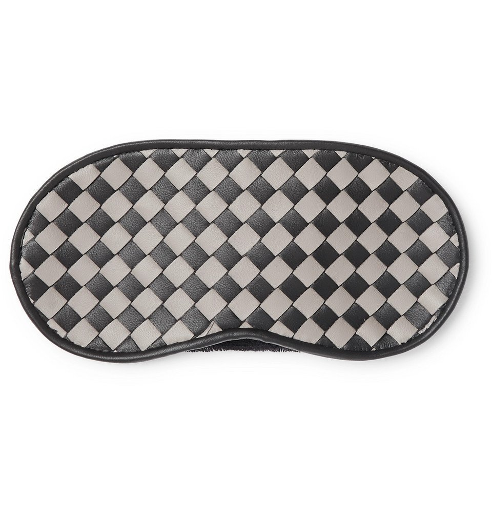 Photo: Bottega Veneta - Two-Tone Intrecciato Leather Eye Mask - Men - Black