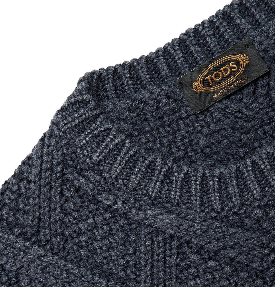 Tod's - Cable-Knit Wool Sweater - Storm blue