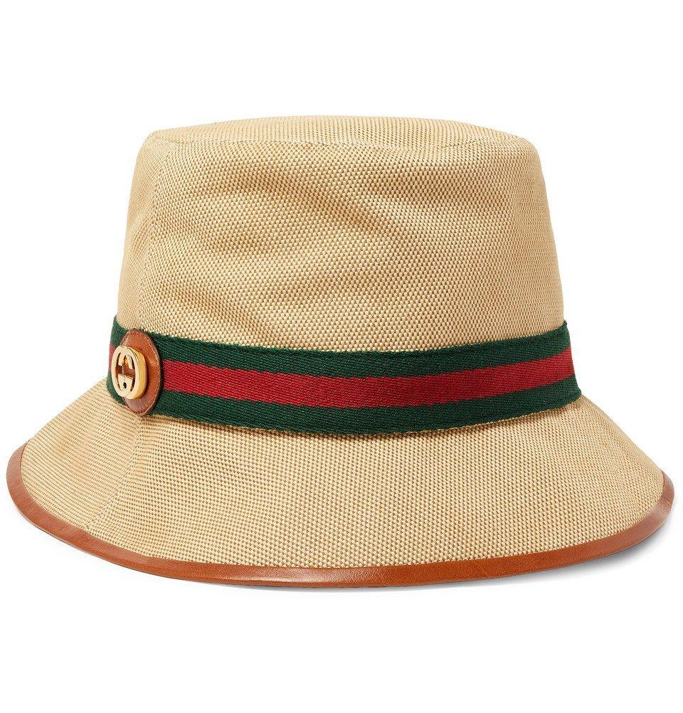 Photo: Gucci - Logo-Appliquéd Striped Webbing-Trimmed Canvas Bucket Hat - Beige