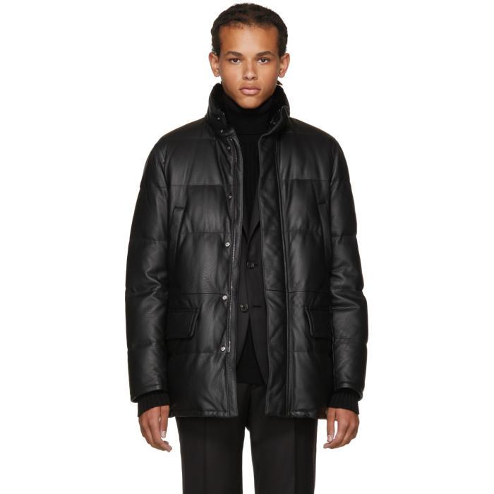 Photo: Brioni Black Leather Puffer Jacket