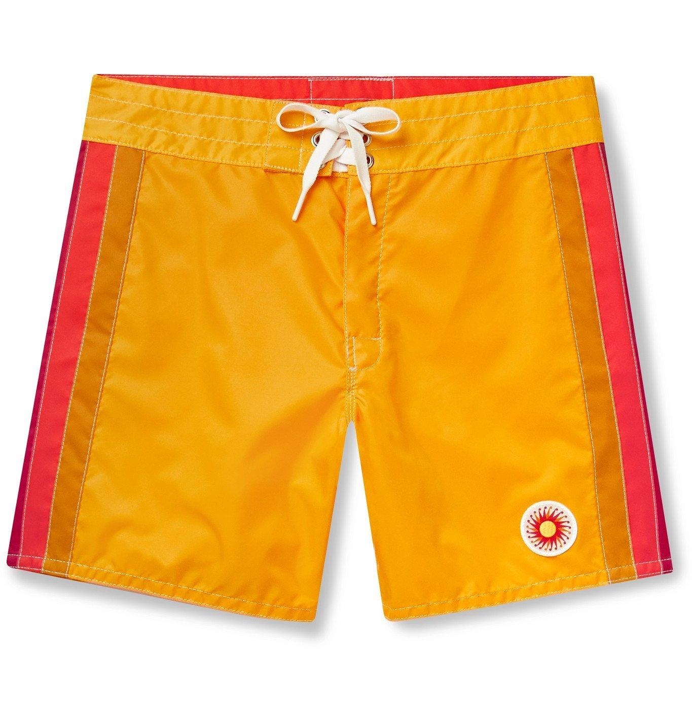 Photo: Birdwell - Mid-Length Striped Swim Shorts - Yellow
