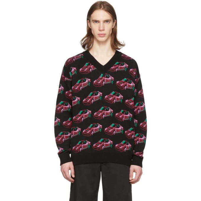 Photo: Versace Black Car V-Neck Sweater