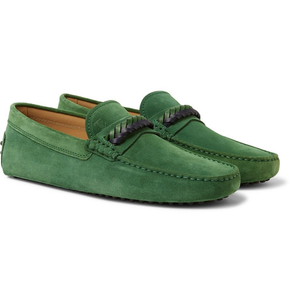 Photo: Tod's - Gommino Leather-Trimmed Suede Driving Shoes - Men - Green