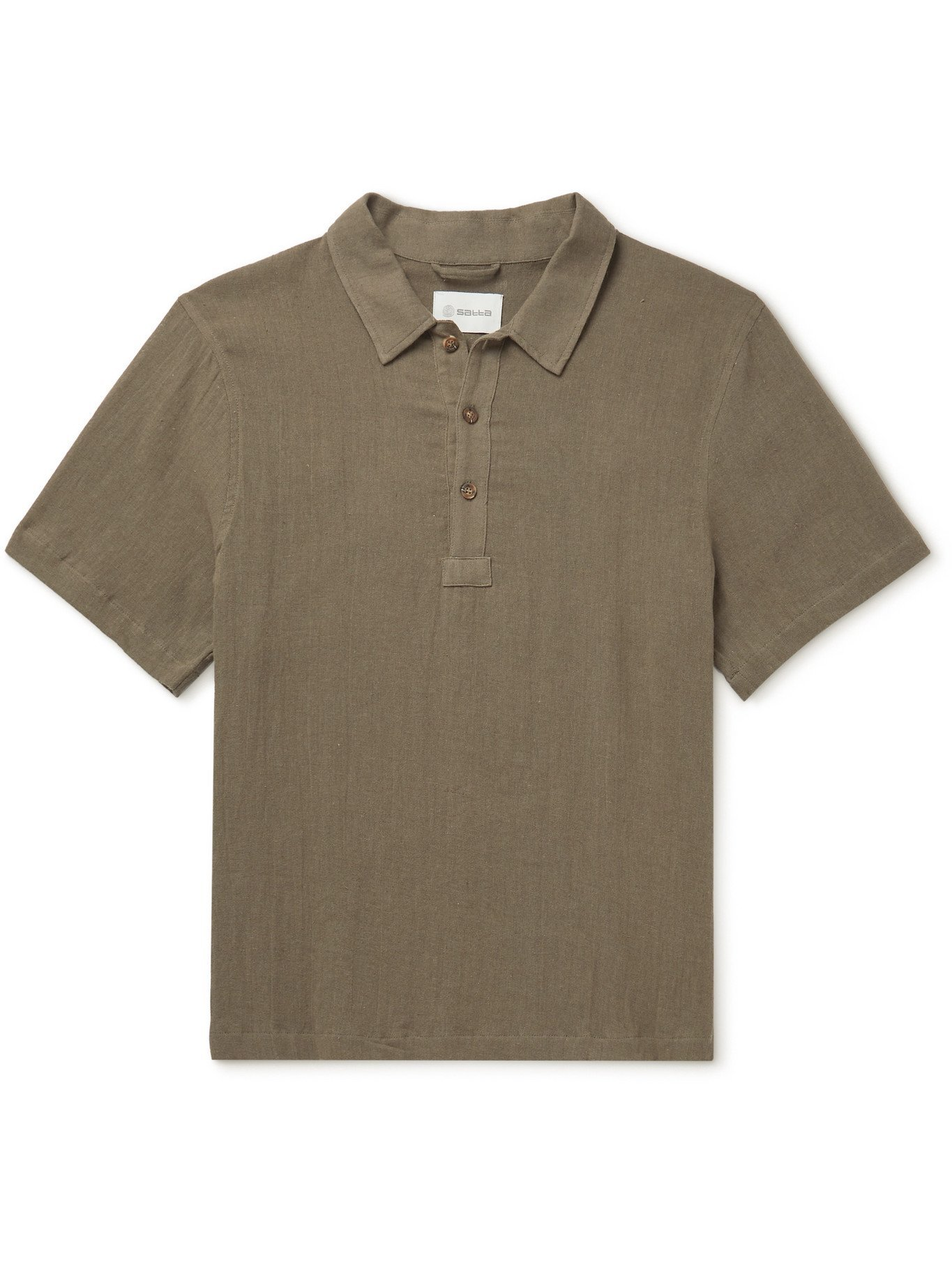 Photo: Satta - Sabi Enzyme-Washed Linen and Cotton-Blend Gauze Polo Shirt - Gray - L