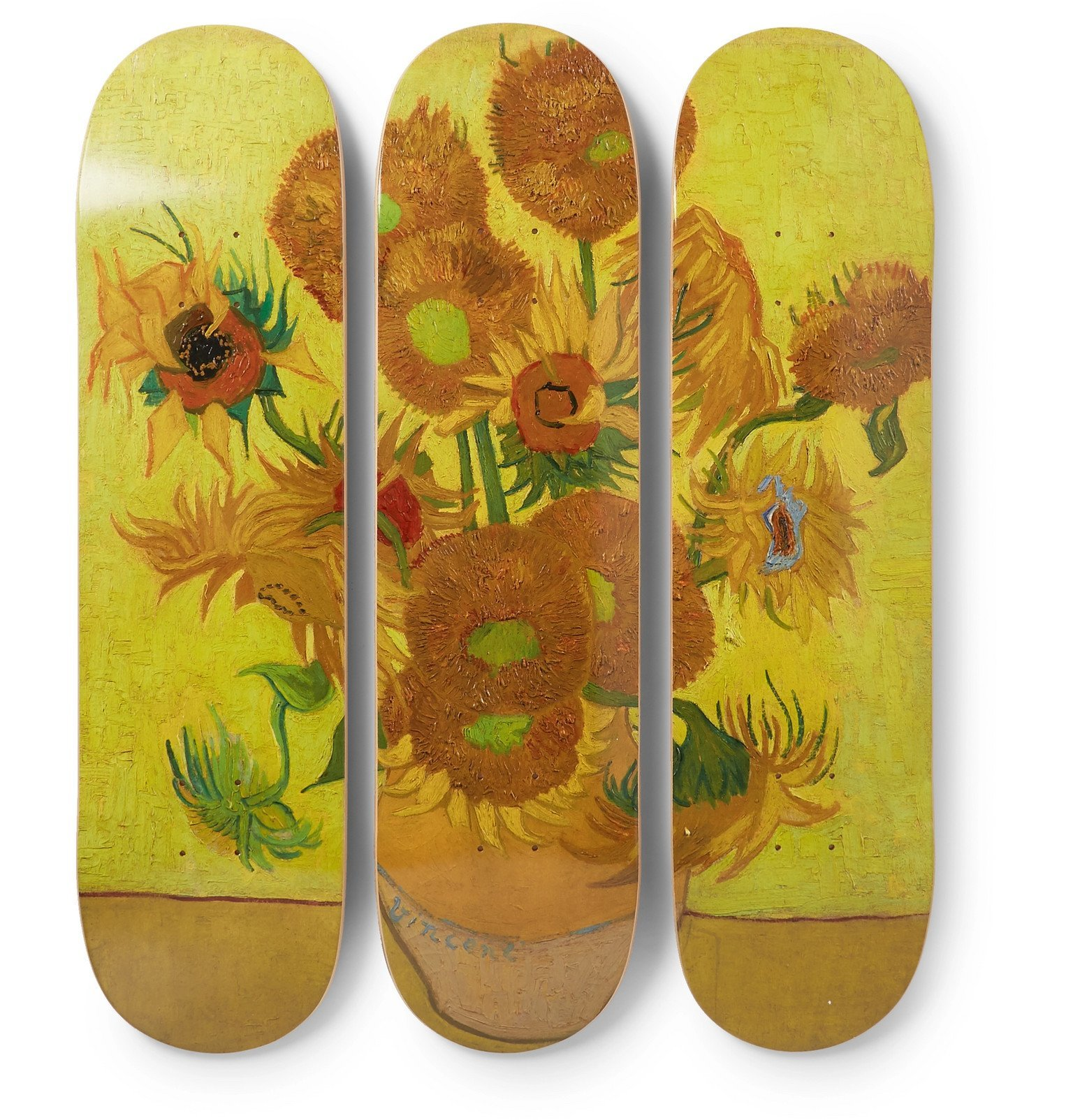 Photo: The SkateRoom - Vincent Van Gogh Set of Three Printed Wooden Skateboards - Yellow
