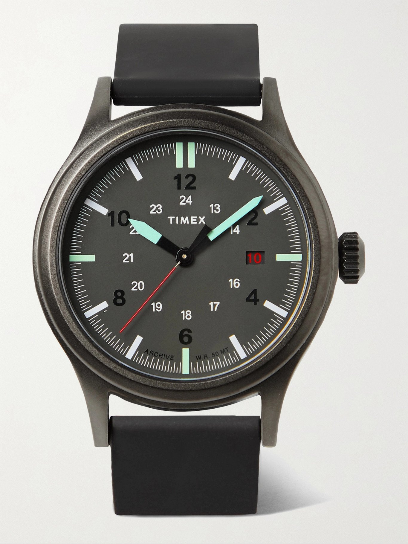 Photo: Timex - Allied 40mm Gunmetal-Tone and Silicone Watch - Black