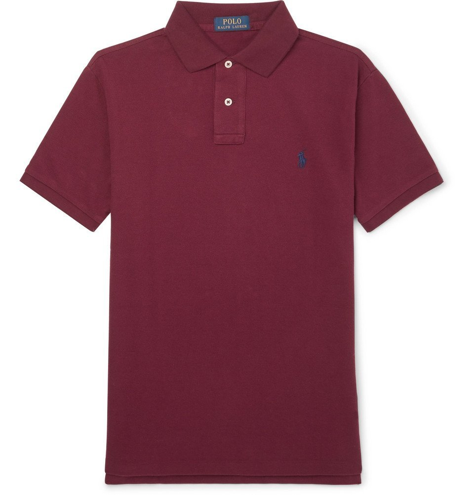 Photo: Polo Ralph Lauren - Slim-Fit Cotton-Piqué Polo Shirt - Burgundy