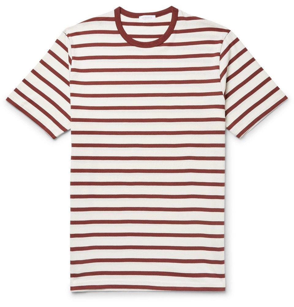 Photo: Sunspel - Striped Cotton-Jersey T-Shirt - Men - Burgundy
