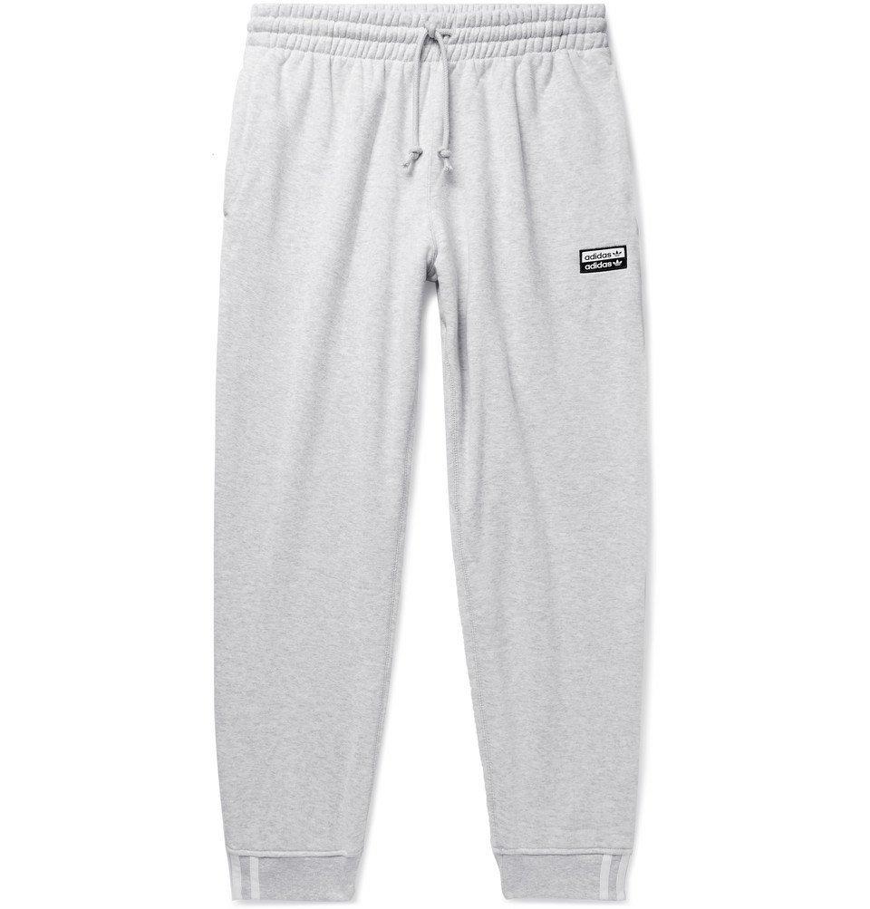 adidas Originals - R.Y.V. Tapered Logo-Appliquéd Mélange Loopback Cotton-Jersey Sweatpants - Gray