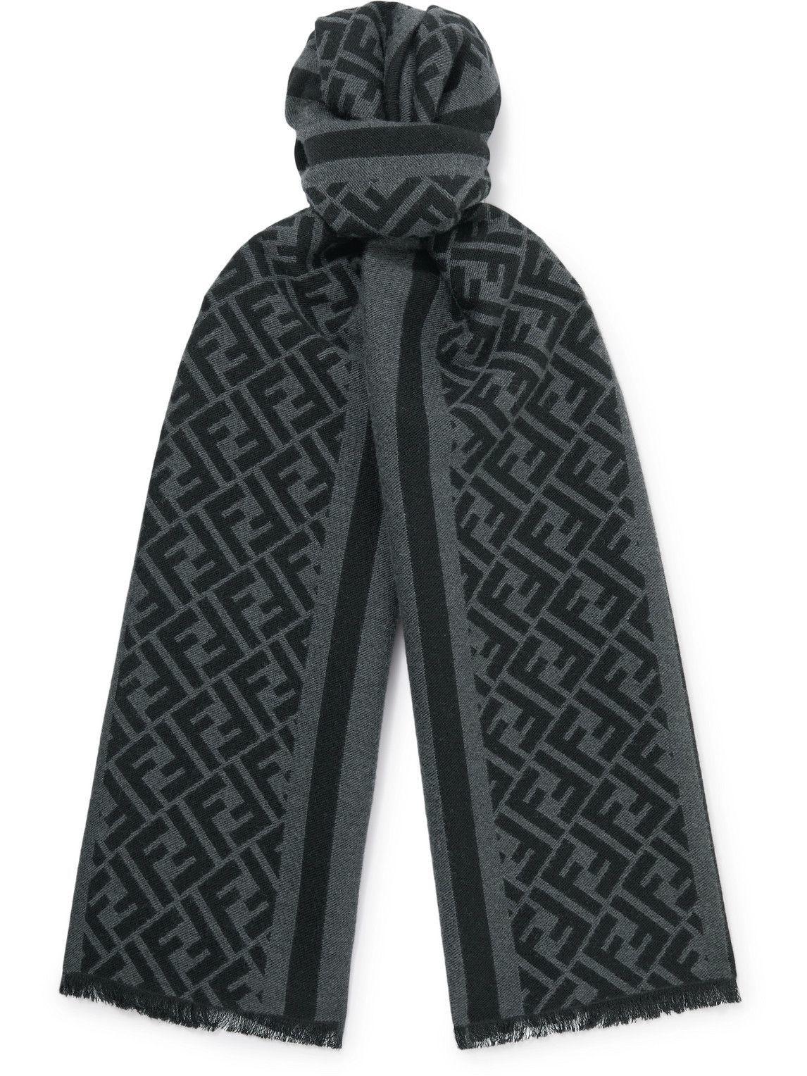 Photo: Fendi - Logo-Jacquard Wool and Silk-Blend Scarf