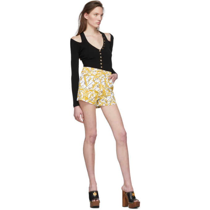 Versace White Denim Gianni Baroque Shorts