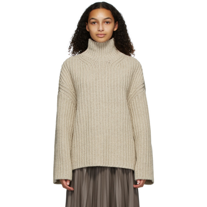 Photo: Nanushka Beige Wool and Silk Raw Turtleneck