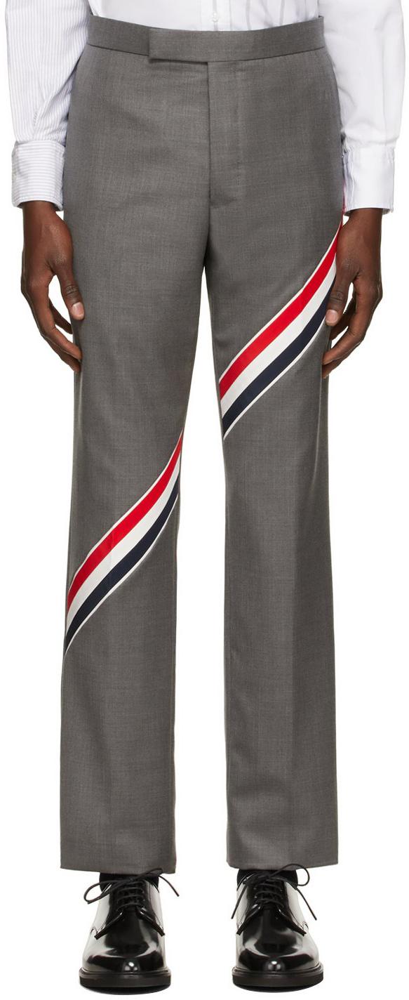 Photo: Thom Browne Grey Super 120s Wool RWB Stripe Trousers