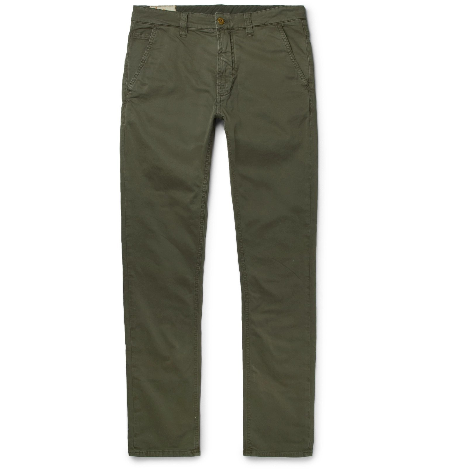 Photo: Nudie Jeans - Slim Adam Garment-Dyed Stretch Organic Cotton-Twill Trousers - Green