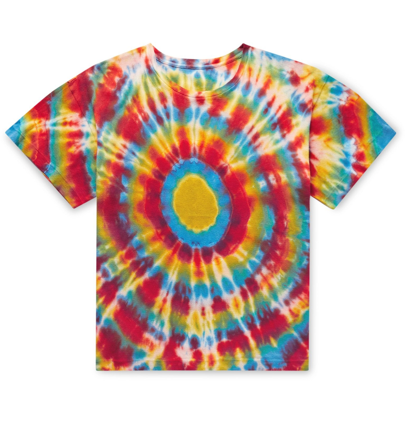 Photo: The Elder Statesman - Bullseye Tie-Dyed Cotton and Cashmere-Blend T-Shirt - Multi