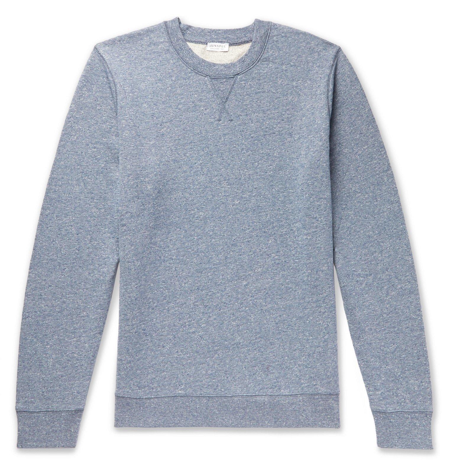 Sunspel - Mélange Loopback Cotton-Jersey Sweatshirt - Blue
