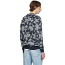 Aries Navy Mohair Paisley Sweater