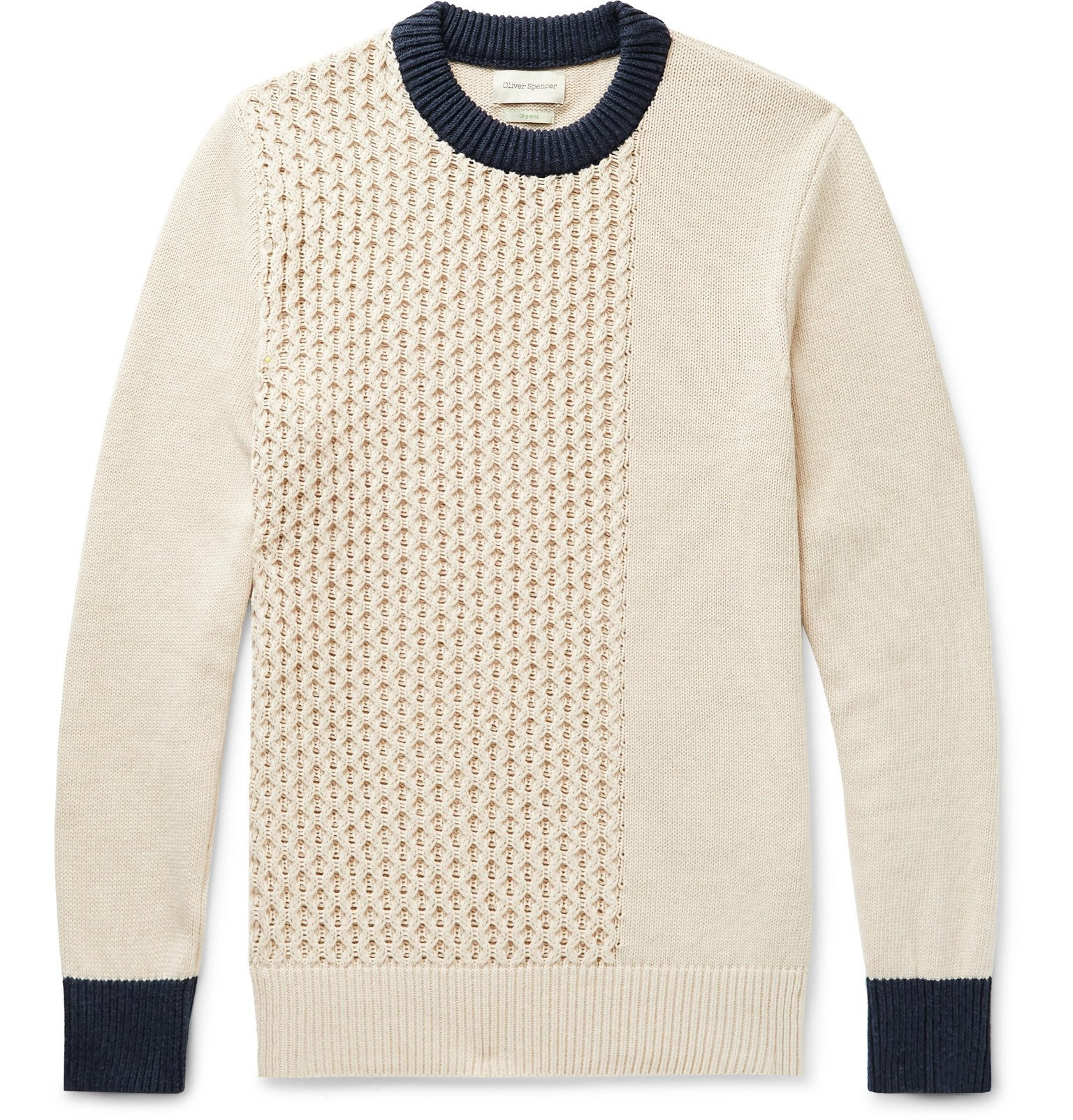Photo: Oliver Spencer - Blenheim Slim-Fit Contrast-Tipped Textured Organic Cotton Sweater - Neutrals