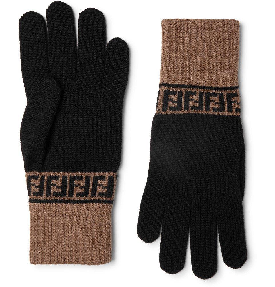 Photo: Fendi - Logo-Intarsia Colour-Block Wool Gloves - Black