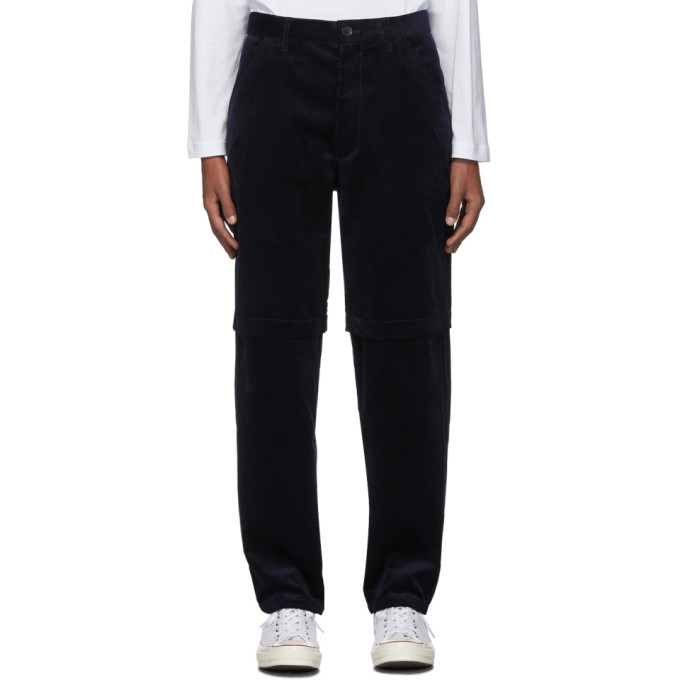 Photo: Comme des Garcons Shirt Navy Corduroy 2-Layer Trousers