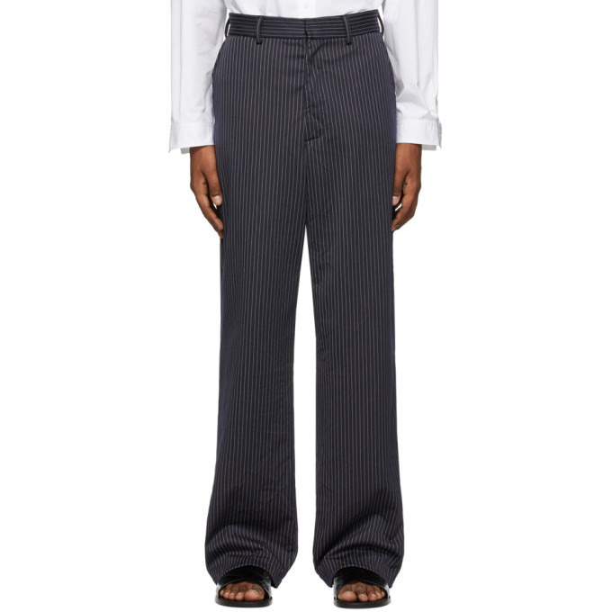 Photo: VETEMENTS Navy Pinstripe Relaxed Trousers