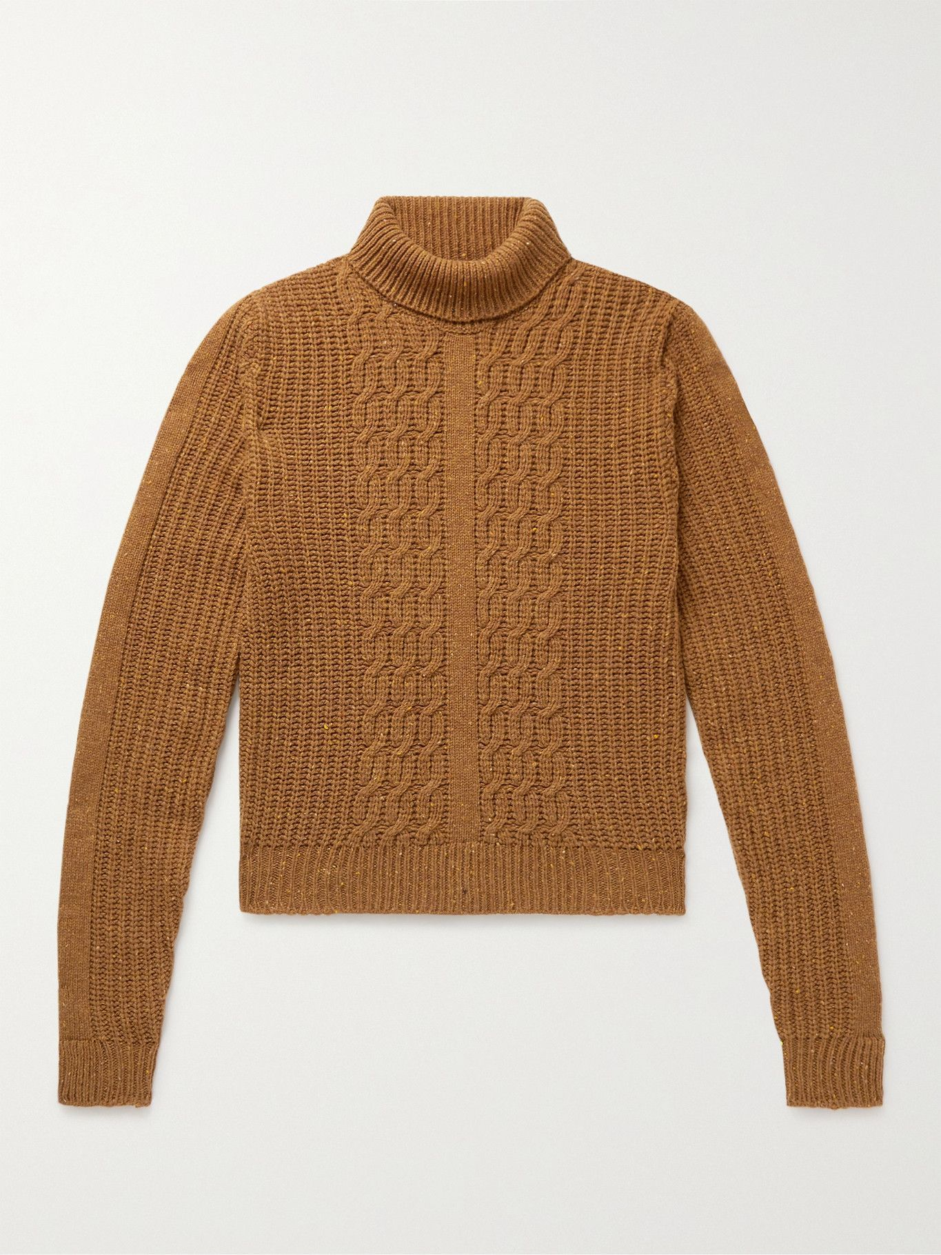 Photo: Etro - Cable-Knit Wool-Blend Rollneck Sweater - Brown