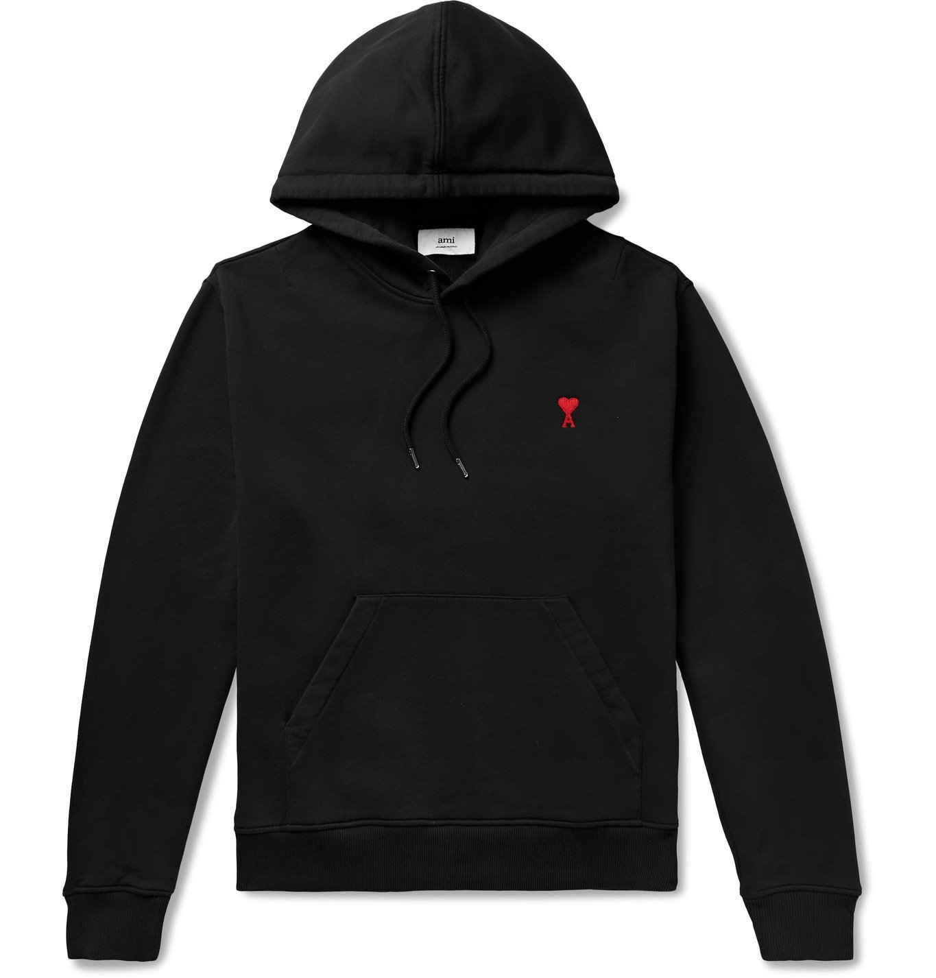 Photo: AMI PARIS - Logo-Embroidered Loopback Cotton-Jersey Hoodie - Black