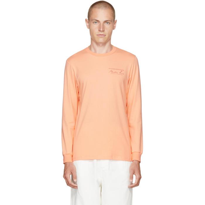 Martine Rose Orange Long Sleeve Classic Logo T-Shirt