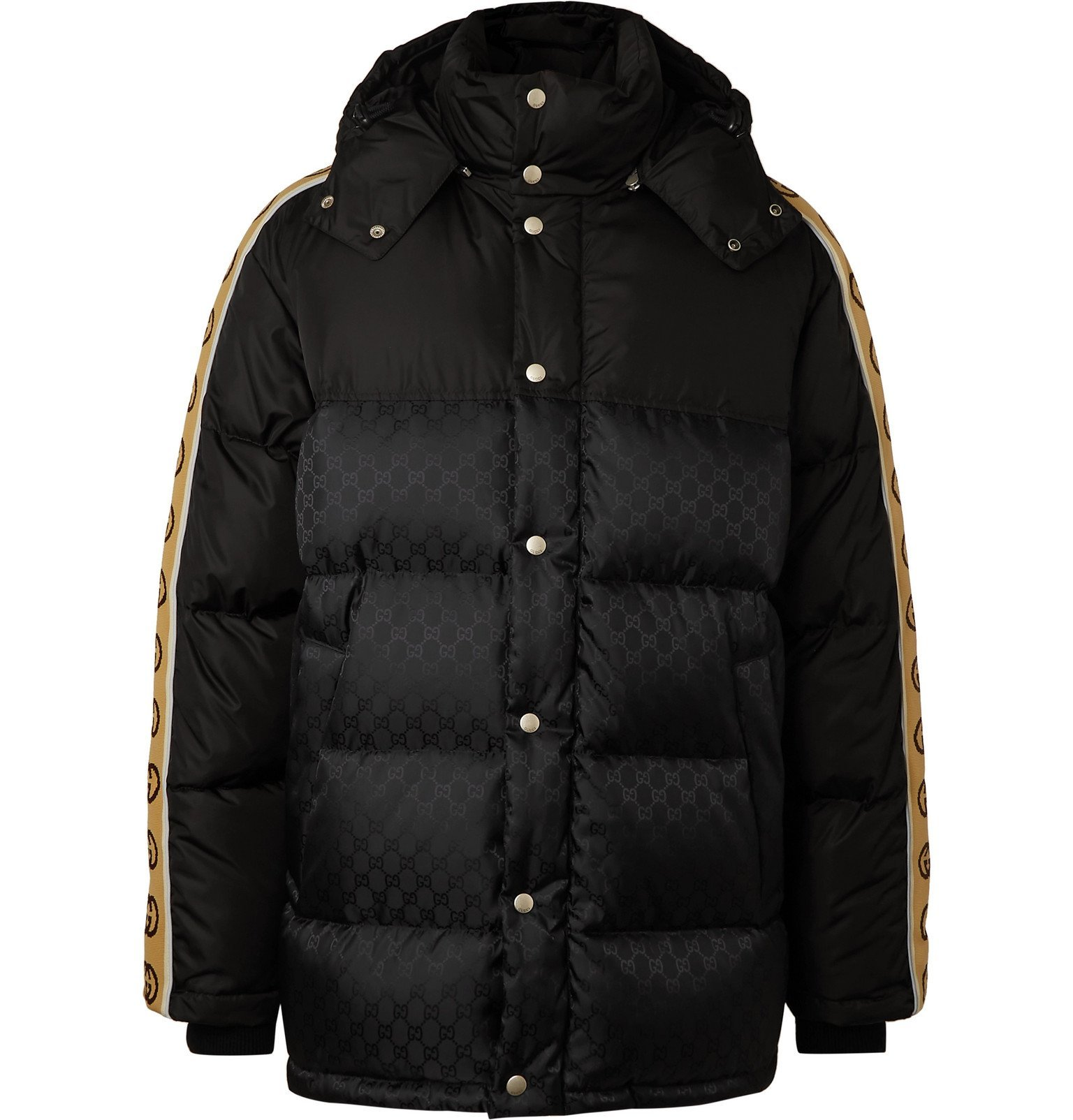 Photo: Gucci - Logo-Jacquard Webbing-Trimmed Quilted Shell Hooded Down Jacket - Black