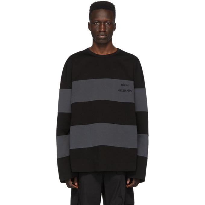 Photo: Juun.J Black and Grey Striped Long Sleeve T-Shirt
