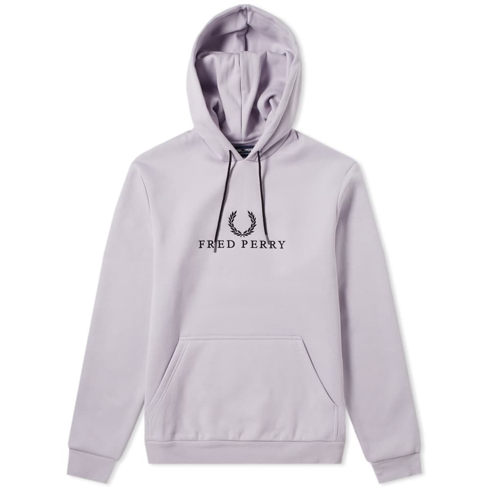 Fred Perry Embroidered Hooded Sweat Fresh Lilac