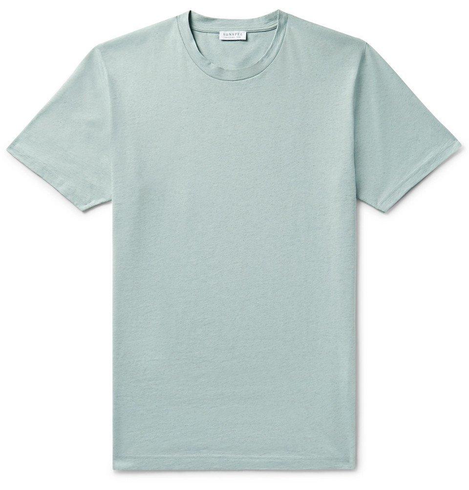Sunspel - Riviera Mélange Cotton-Jersey T-Shirt - Sky blue